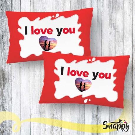 """Coppia di federe personalizzate con foto """"I LOVE YOU"""""""