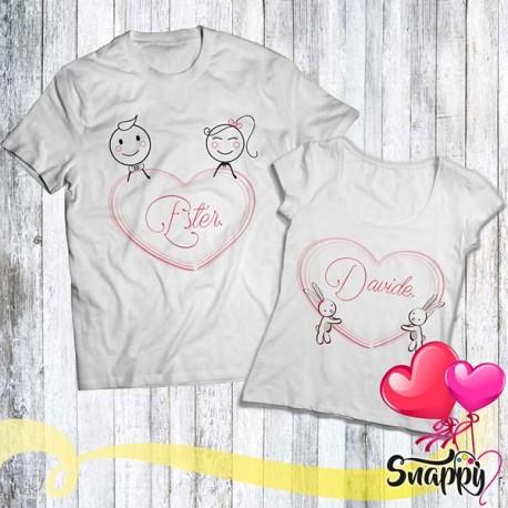 Coppia di t shirt personalizzate LOVE STORIES CUORI