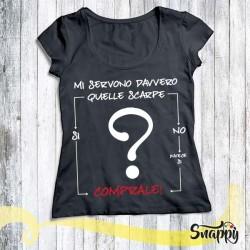 T shirt donna personalizzata GLAMOUR SI E NO