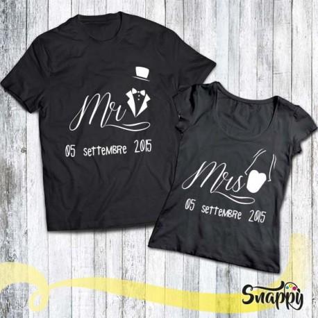 Coppia di T shirt personalizzate MR & MRS SPOSI