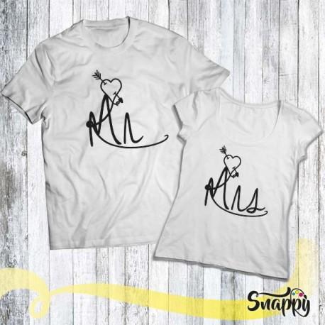 Coppia di T shirt personalizzate MR & MRS FUMETTO
