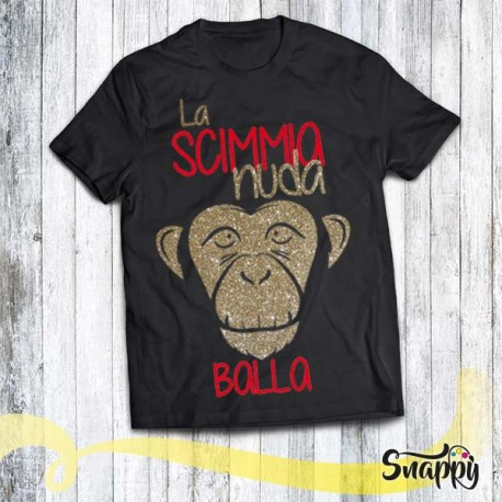 T shirt glitterata SONG SCIMMIA STYLE