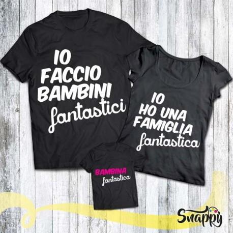 Set di t shirt nere FAMIGLIA FANTASTICA