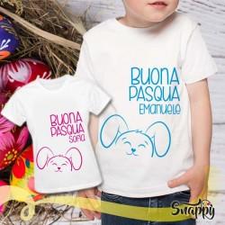 T shirt con nome bambino HAPPY CONIGLIO