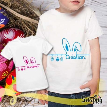T shirt con nome bambino ORECCHIE CONIGLIO