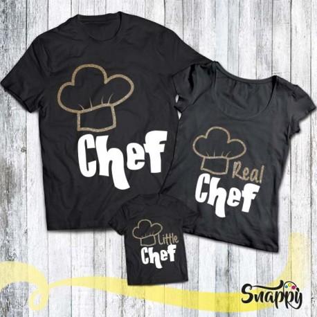 Set di t shirt glitterate FAMILY CHEF