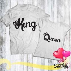 Coppia di t shirt personalizzate KING & QUEEN