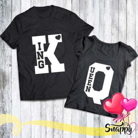 Coppia di t shirt personalizzate K & Q