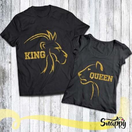 Coppia di t shirt GLITTERATE LION & LIONESS