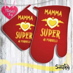 Set di presina e guanto da forno MAMMA SUPER