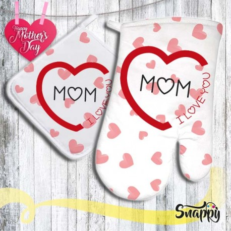 Set di presina e guanto da forno LOVE MOM