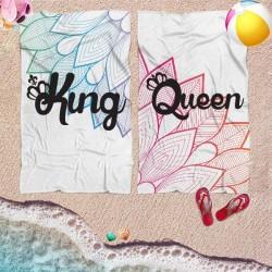 Coppia di teli mare personalizzati KING & QUEEN FLOWERS