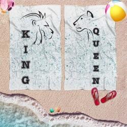 Coppia di teli mare personalizzati KING & QUEEN LION