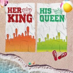 Coppia di teli mare personalizzati KING & QUEEN HIS & HER