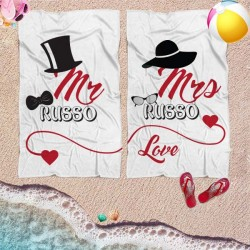Coppia di teli mare personalizzati con nome MR & MRS ELEGANT