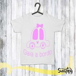 T shirt auto personalizzata con nome bimbo a bordo AUTO
