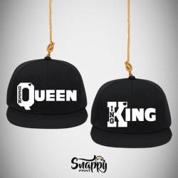 Coppia di cappelli Snapback KING & QUEEN K Q