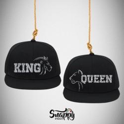Coppia di cappelli Snapback KING & QUEEN LION