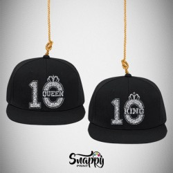 Coppia di cappelli Snapback personalizzati KING & QUEEN NUMBERS
