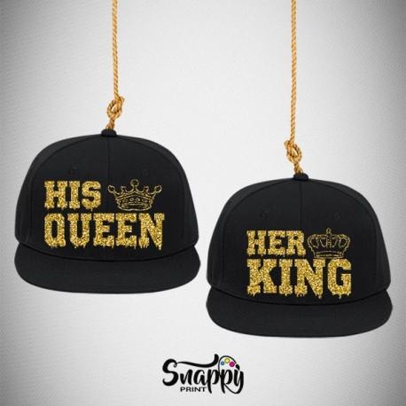 Coppia di cappelli Snapback HER KING HIS QUEEN