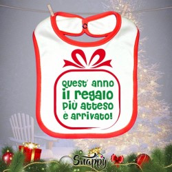"""Bavaglino Bavetta Natalizio Natale Neonato """"GIFT"""""""