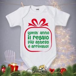 """Body Bodino Personalizzato Neonato Natalizio Natale """"GIFT"""""""