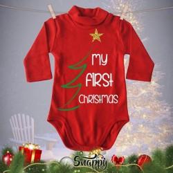 """Lupetto Neonato Rosso Natalizio Lupetti Natale """"FIRST CHRISTMAS"""""""