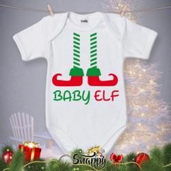 """Body Bodino Personalizzato Neonato Natalizio Natale """"BABY ELF"""""""