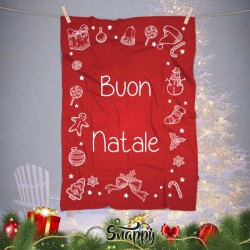 "Coperta In Pile Plaid Natalizia Idea Regalo ""BUON NATALE"""