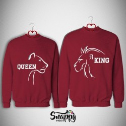 "Coppia di felpe linea PER LA TUA META' ""KING & QUEEN LION"""