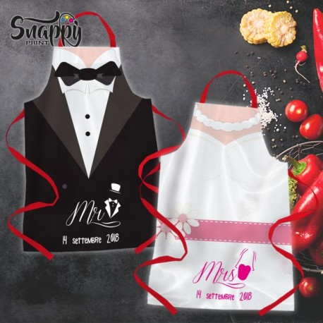 Grembiuli Simpatici Da Cucina.Grembiule Da Cucina Coppia Grembiuli Sposi Sposo Sposa Matrimonio