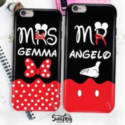 """Coppia cover case custodia cellulare smartphone personalizzate """"Minnie&Mickey"""""""