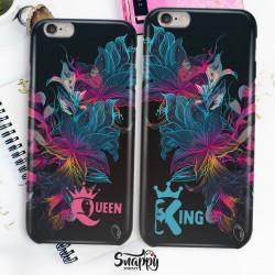 """Coppia cover case custodia cellulare smartphone personalizzate king e queen """"Profil Flowers"""""""