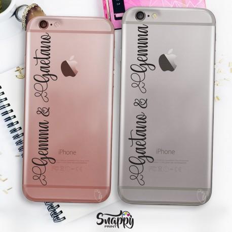 """Coppia cover case custodia cellulare smartphone personalizzate con nomi """"NOMI"""""""