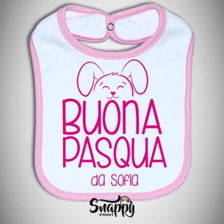 Bavaglino personalizzato con nome HAPPY CONIGLIO