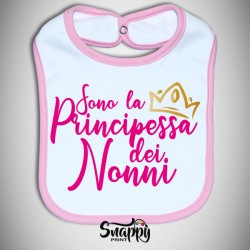 """Bavaglino Bavetta neonato idea regalo festa dei nonni """"Principessa dei nonni"""""""