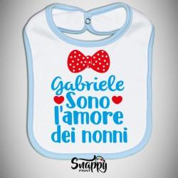 """Bavaglino Bavetta neonato idea regalo festa dei nonni """"L'AMORE DEI NONNI"""""""
