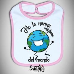 """Bavaglino Bavetta neonato idea regalo festa dei nonni """"MIGLIORI DEL MONDO"""""""