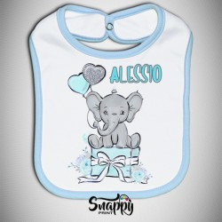"""Bavetto Bavaglino Bavetta neonato personalizzato con nome """"Elefantino"""""""