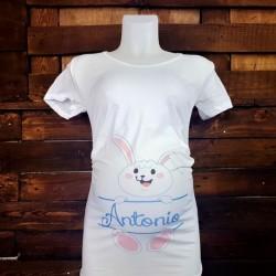 """T-Shirt Maglia Premaman Idea Regalo Pasqua """"Little Rabbit Personalizzato con Nome """""""