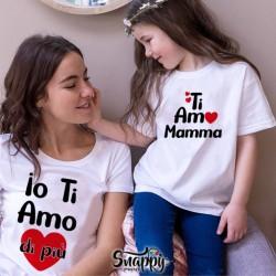 """Coppia di T-Shirt Magliette Mamma E Figlio / Figlia Idea Regalo Festa Della Mamma """"TI AMO,IO DI Più"""""""