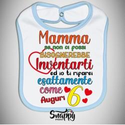 """Bavaglino bavetta idea regalo festa della mamma """"SE NON CI FOSSI BISOGNEREBBE INVENTARTI"""""""