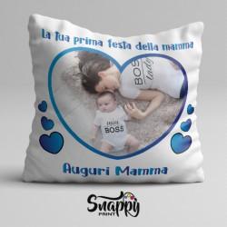 """Cuscino quadrato d'arredo idea regalo per la festa della mamma """"AUGURI MAMMA CON FOTO"""""""