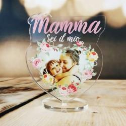 """Targa in Plexiglass Idea Regalo Festa della Mamma """"Cuore con Fiori Personalizzata con Foto"""""""