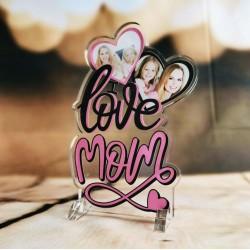 """Targa in Plexiglass Idea Regalo Festa della Mamma """"Love Mom Personalizzata con Foto"""""""