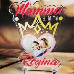 """Targa in Plexiglass Idea Regalo Festa della Mamma """"Mamma sei la mia Regina Personalizzata con Foto"""""""