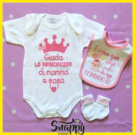 Corredino Kit Set Primo Cambio Neonato Personalizzato Principe/Principessa