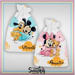 """Sacco primo cambio Sacchetto nascita ospedale maschietto e femminuccia personalizzato con nome """"Minnie e Topolino Friends"""""""