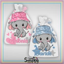 """Sacco primo cambio Sacchetto nascita ospedale maschietto e femminuccia personalizzato con nome """"Sweet Elefantini"""""""