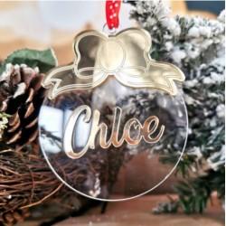 Addobbo natalizio personalizzato pallina in plexiglass con fiocco